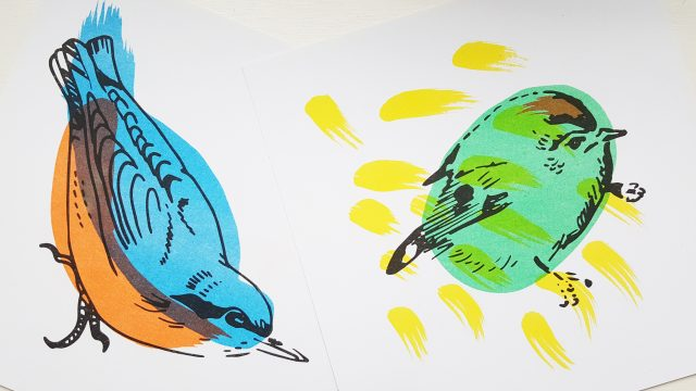 Bird risograph prints